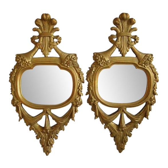 Antique French Giltwood Mirrors - A Pair For Sale