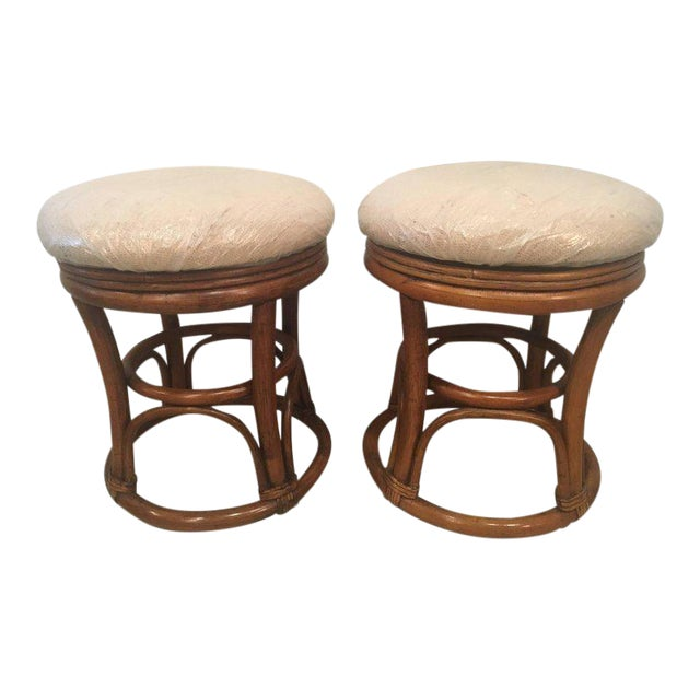 Vintage Tropical Palm Beach Rattan Stools Benches - a Pair For Sale