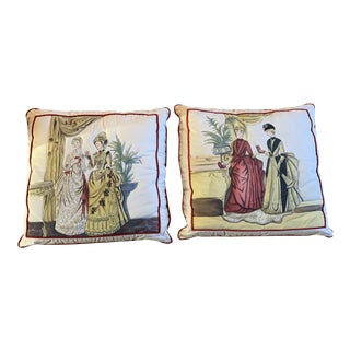 Handpainted Pillows - A Pair For Sale