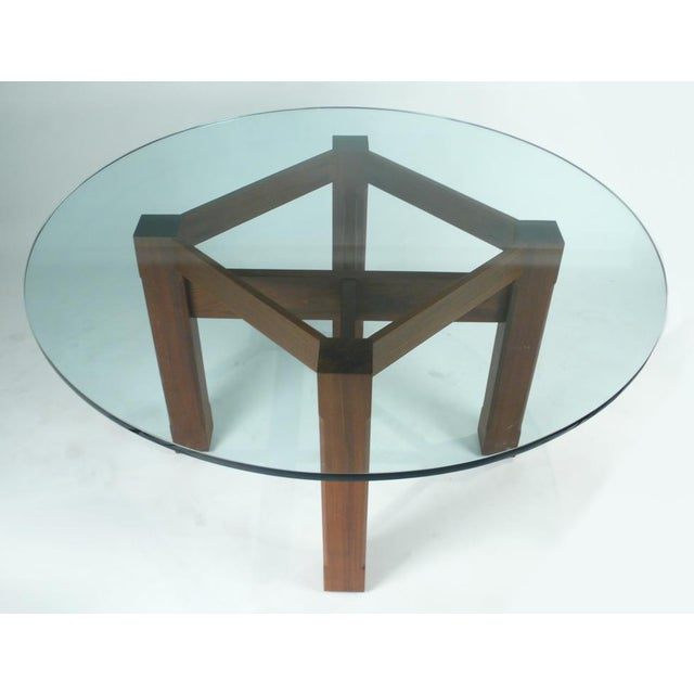 Modern Custom Glass Top Dining Table For Sale - Image 3 of 7