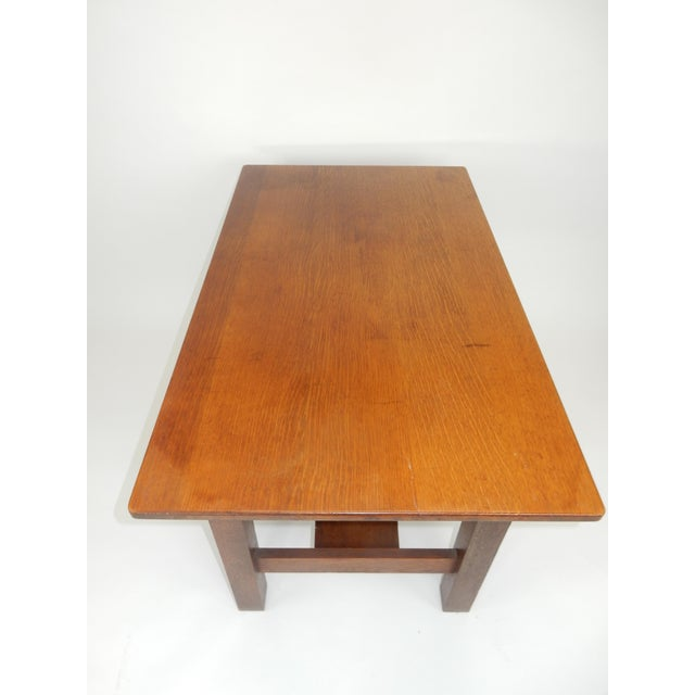 Late 19th Century Antique Signed Charles Limbert Mission Oak Library Table/ Desk For Sale - Image 5 of 13