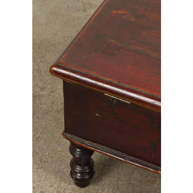 A gorgeous Victorian gentlemen shaving chest with original glass with wood backing. Raised on 4 turned legs. This box...