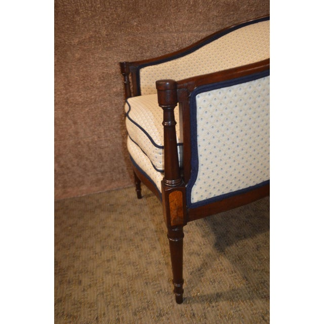 Vintage Sheraton Style Inlaid Mahogany Barrel Back Accent Chair For Sale - Image 4 of 13