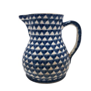 Antique Blue and White Hand-Painted German Stoneware Milk Pitcher For Sale