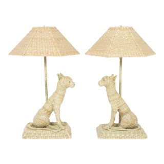 Fun and Folky Wicker Cat Table Lamps by Mario Torres - A Pair For Sale