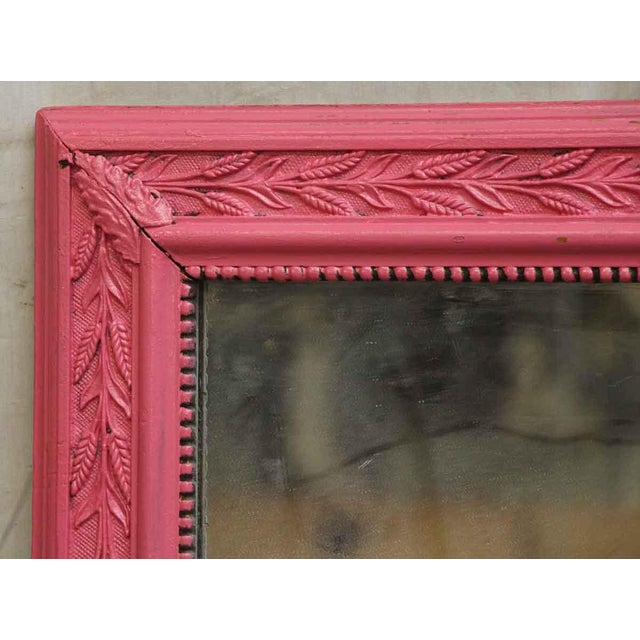 Painted Pink Vintage Wood Framed Mirror With Fl Detailing Wall Mount Some Wear From