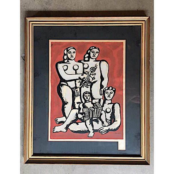 Fernand Leger Seriograph - The Three Sisters on a Red Background - 1954. Serigraph after a gouache. Signed in the plate....