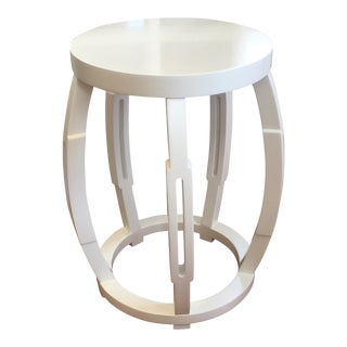 Bungalow 5 White Taboret Stool For Sale
