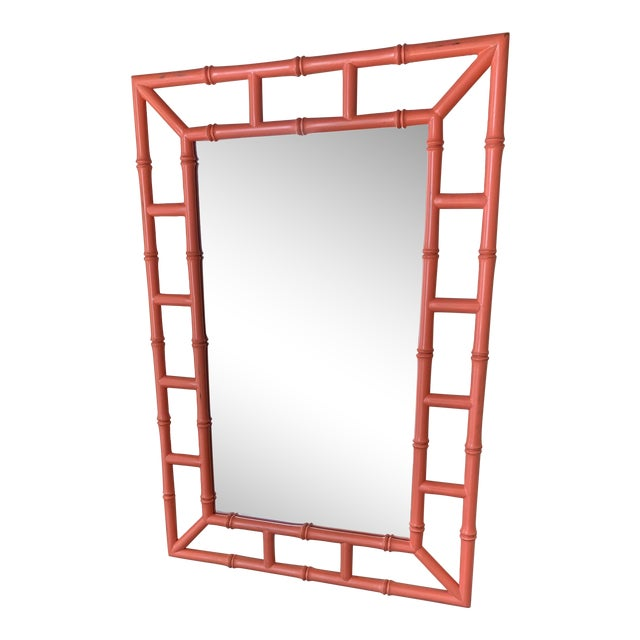 Chippendale Orange Bamboo Mirror For Sale