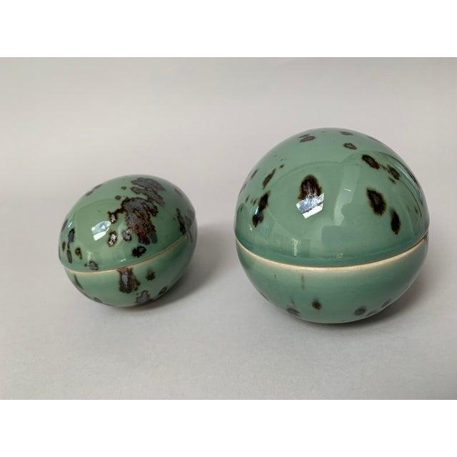 1970s 1970s Danish Modern Dansk Large and Medium Jade Green Stoneware Egg Boxes - Set of 2 For Sale - Image 5 of 13