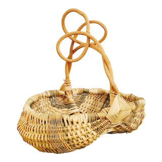 Vintage Branch Handle Gathering Basket For Sale