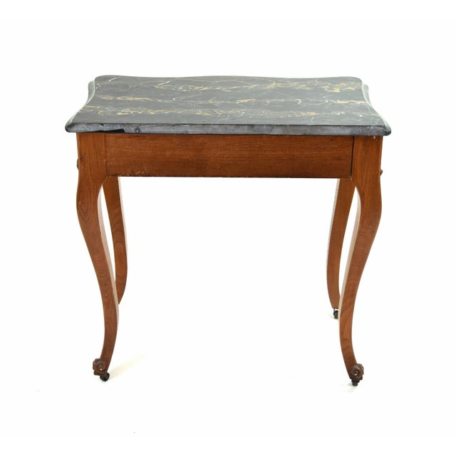 Antique French Louis XV Heavily Carved Marble Top Hall Console Table Cabriolet Legs For Sale - Image 11 of 12
