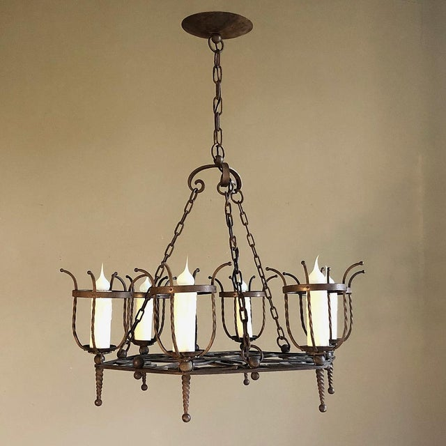 Rustic European Antique Country French Wrought Iron Chandelier For Sale - Image 3 of 11
