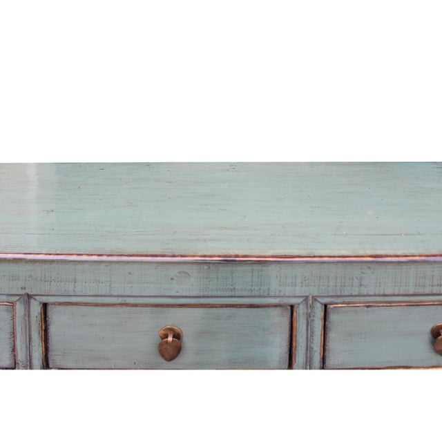 2010s Distressed Rustic Teal Gray Credenza Sideboard Buffet Table Cabinet For Sale - Image 5 of 9