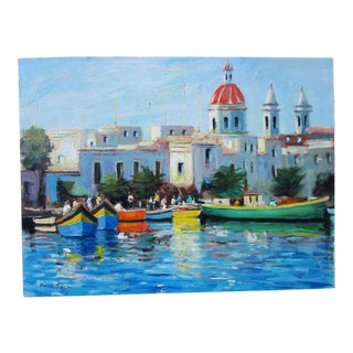 "Fishing Village Malta - 1990s Nino Pippa Oil Painting on Board - 18"" X 24"" For Sale"