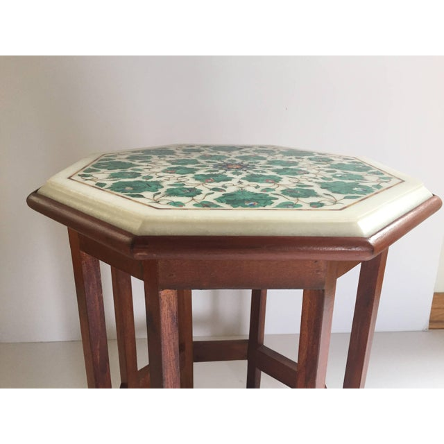 Pietra Dura Marble-Topped Octagonal Table Inlaid in Taj Mahal Anglo Raj Style For Sale - Image 12 of 13