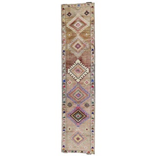 Vintage Turkish Oushak Runner with Modern Tribal Style, Hallway Runner