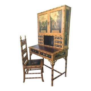 Hand Painted Asian Chinoiserie Secretary Desk and Chair For Sale