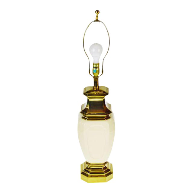Vintage Stiffel Porcelain & Brass Table Lamp For Sale