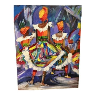 Original Moko Jumbie Carnival Abstract Painting on Canvas For Sale