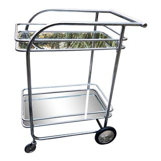 Vintage Bar Cart Deco Tubular Chrome For Sale