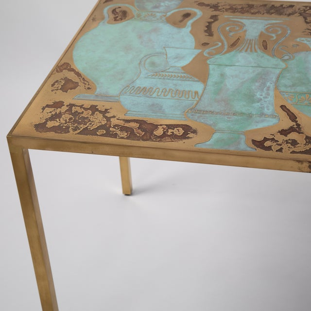 Gold Rare Harvey Probber Acid-Etched and Patinated Bronze Sofa Table, Circa 1960s For Sale - Image 8 of 13