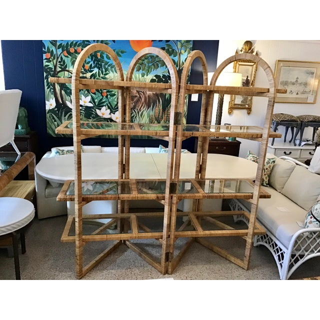 Very rare Vintage Bielecky Brothers Rattan Arch Top Etagere. Each Shelf Floats on the Arch Folding Frame and could also be...