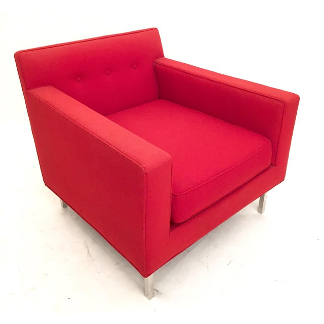 Upholstered Red Dunbar Arm Chair - Image 6 of 6