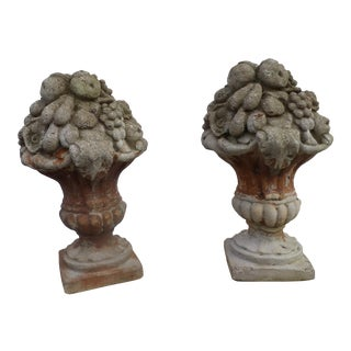 Antique Cement Stone Fruit Basket Garden Statues- a Pair For Sale