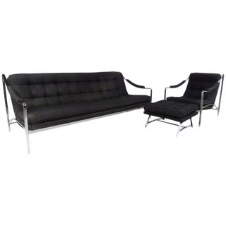 Mid-Century Sofa, Chair, and Ottoman Set For Sale