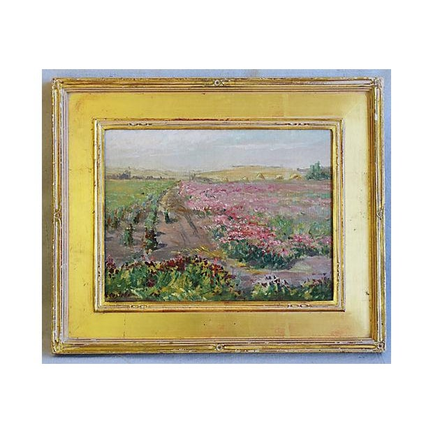 Valentine Costello 1875 1937 Pink Flower Fields Oil