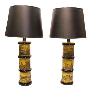 Fornasetti Style Table Lamps - A Pair For Sale
