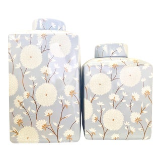 Blue Chrysanthemum Modern Ginger Jar Set - a Pair For Sale
