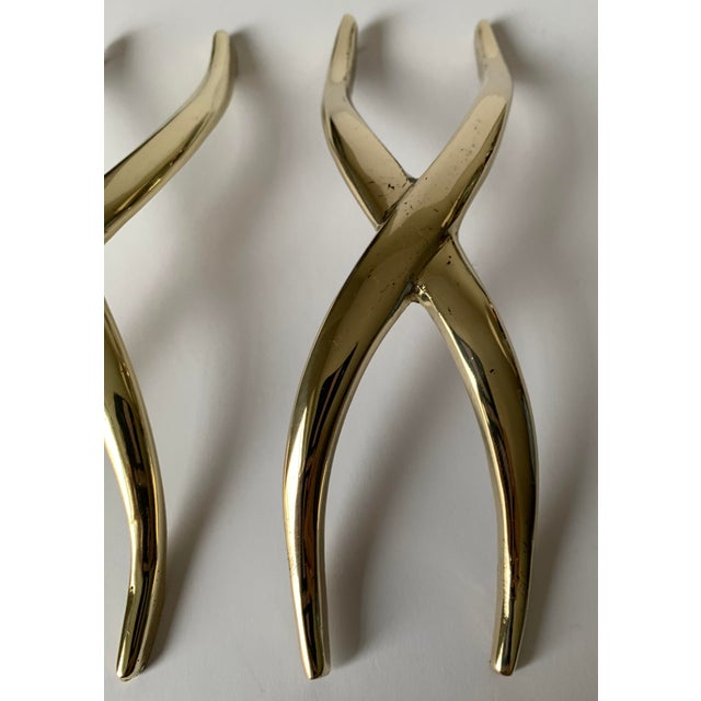 Pair of 1950s Polished Brass X Pulls For Sale - Image 11 of 13