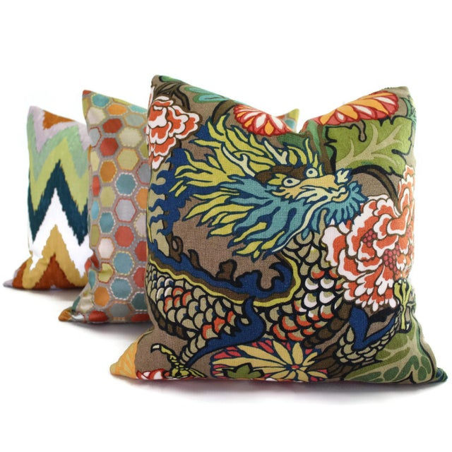 Schumacher Schumacher Chiang Mai Dragon Pillow Cover For Sale - Image 4 of 6