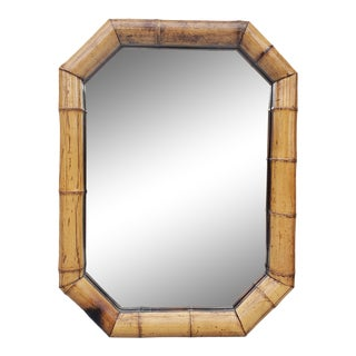 Large Vintage Octagonal Bamboo Mirror For Sale