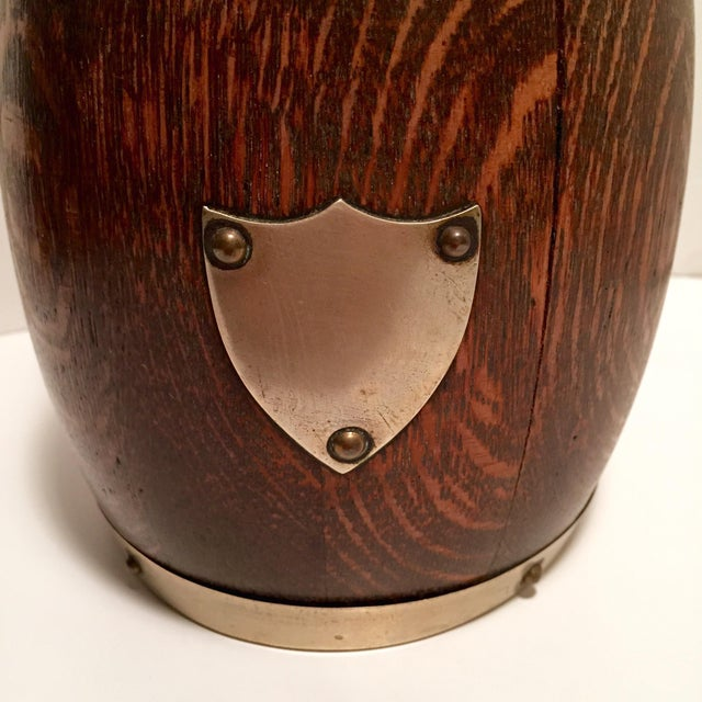 Late 19th C. English Oak Biscuit Barrel/Ice Bucket - Image 2 of 4