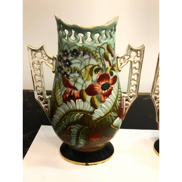 Aesthetic Movement 19th Century French Porcelain Hand-Painted Vases - a Pair For Sale - Image 3 of 10