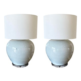Large White Glazed Pottery Lamps - a Pair For Sale