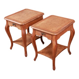 John Widdicomb French Provincial Louis XV Oak and Burl Wood Nightstands, Pair For Sale