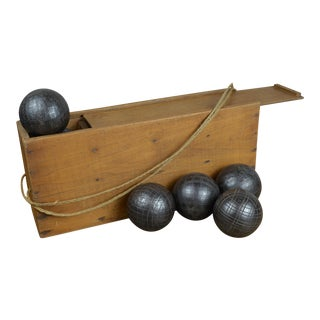 Antique French Iron Boules Set With Case For Sale