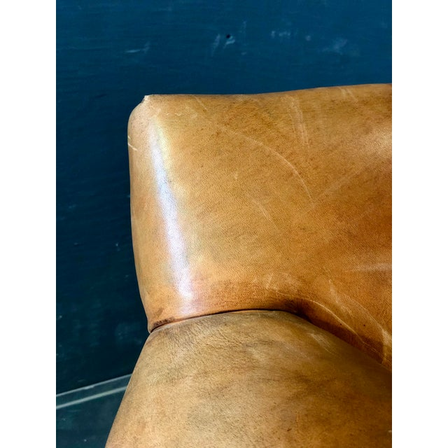 Vintage Ralph Lauren Camel Leather Chair For Sale - Image 9 of 10