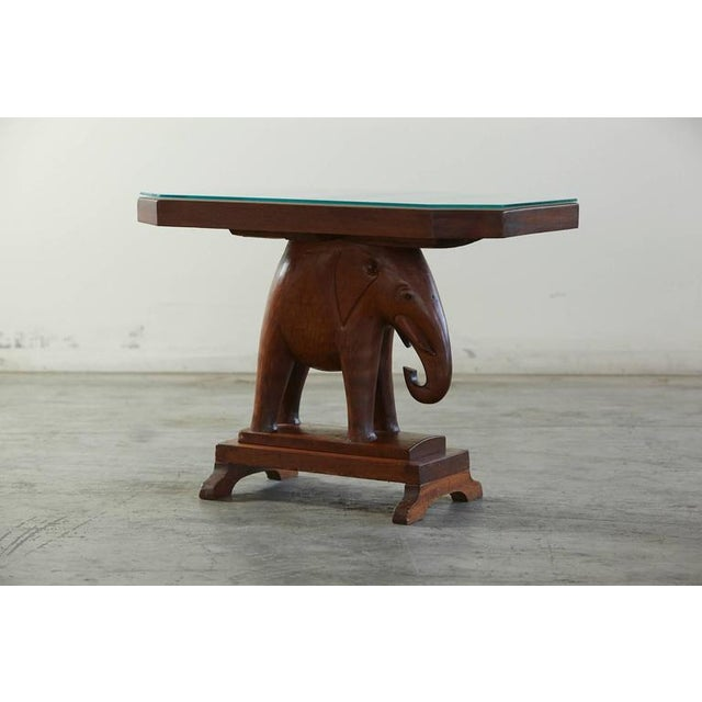 Rare Mahogany Table with Carved Elephant Base with Roosevelt History For Sale In New York - Image 6 of 7