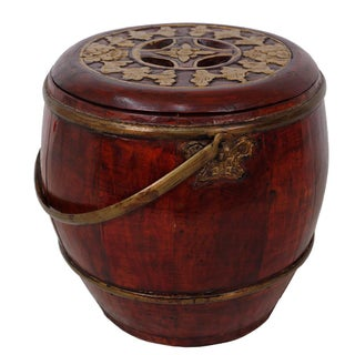Chinese Antique Wooden Carved Rice Grain Bucket Preview