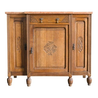 French Art Deco Oak Marble Top Buffet