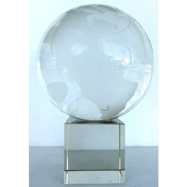 Etched Crystal Globe on Stand - Image 2 of 8