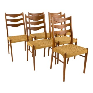 Mid Century Danish Teak Roped Ladder Back Dining Chairs - Set of 6 For Sale
