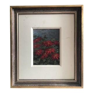 Vintage Original Painting of Flowers, Signed
