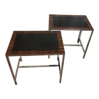 1970s Vintage William Sonoma Chrome Tables - A Pair