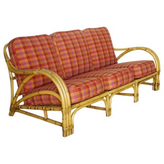 "Tropical ""1940s Transition"" Three-Seat Rattan Sofa For Sale"